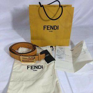 NWT Fendi Womens Belt Yellow Genuine Leather 80